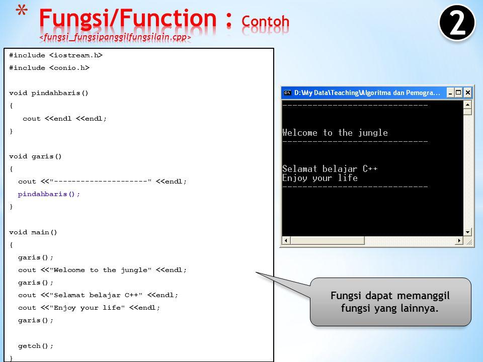 #include void garis() { cout << --------------------- <<endl; } void main() { garis(); cout << Welcome to the jungle <<endl; garis(); cout << Selamat belajar C++ <<endl; cout << Enjoy your life <<endl; garis(); getch(); } Fungsi dapat dipanggil/digunakan lebih dari satu kali.