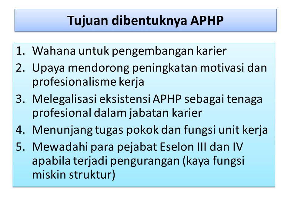 Tujuan dibentuknya APHP 1.Wahana untuk pengembangan karier 2.Upaya mendorong peningkatan motivasi dan profesionalisme kerja 3.Melegalisasi eksistensi