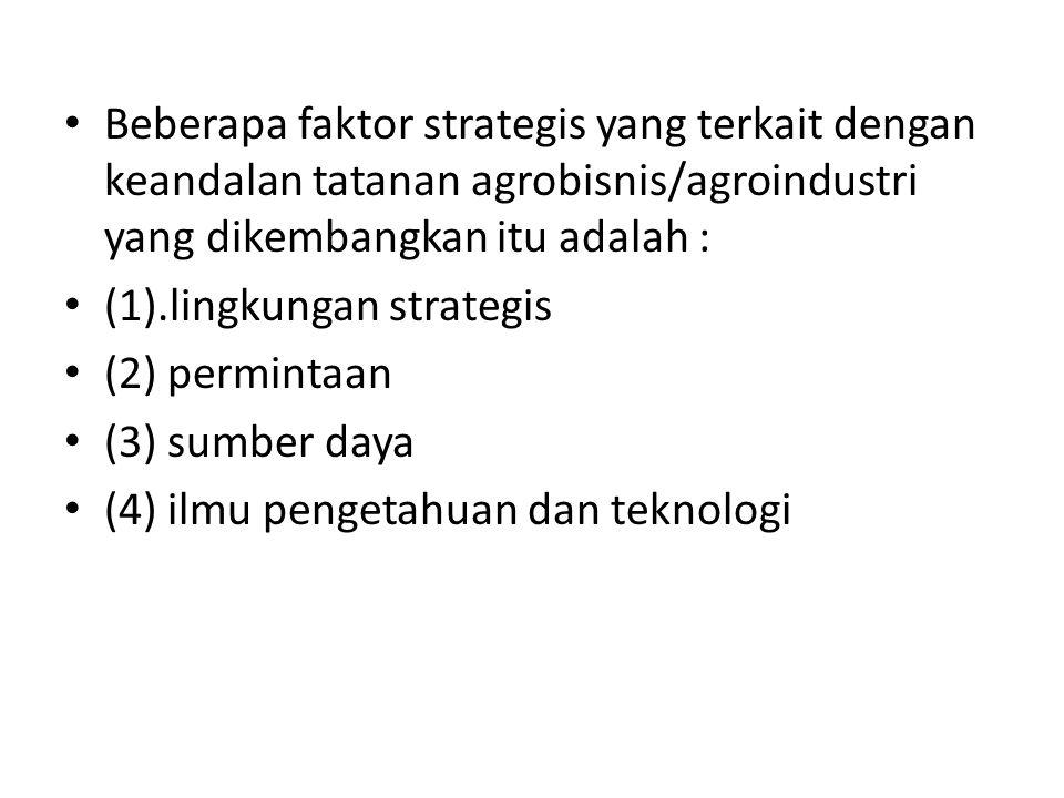Beberapa faktor strategis yang terkait dengan keandalan tatanan agrobisnis/agroindustri yang dikembangkan itu adalah : (1).lingkungan strategis (2) pe