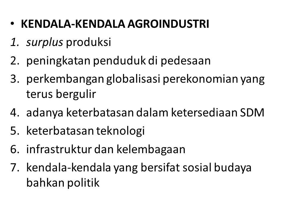 KENDALA-KENDALA AGROINDUSTRI 1.surplus produksi 2.peningkatan penduduk di pedesaan 3.perkembangan globalisasi perekonomian yang terus bergulir 4.adanya keterbatasan dalam ketersediaan SDM 5.keterbatasan teknologi 6.infrastruktur dan kelembagaan 7.kendala-kendala yang bersifat sosial budaya bahkan politik