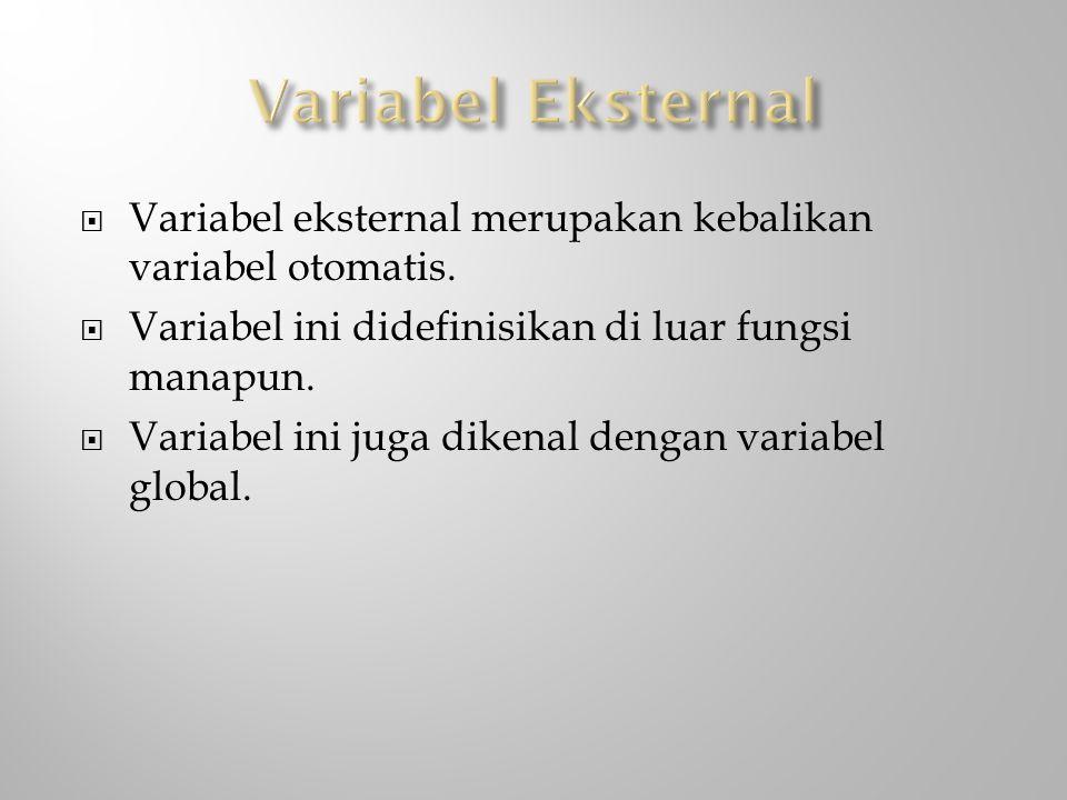  Variabel eksternal merupakan kebalikan variabel otomatis.  Variabel ini didefinisikan di luar fungsi manapun.  Variabel ini juga dikenal dengan va