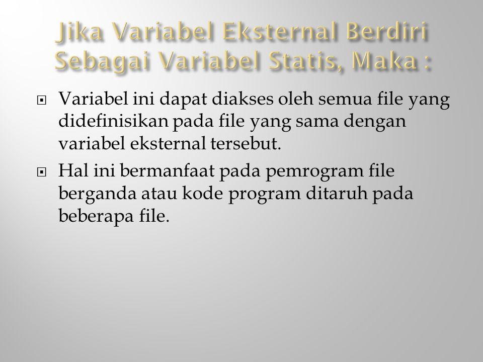  Variabel ini dapat diakses oleh semua file yang didefinisikan pada file yang sama dengan variabel eksternal tersebut.  Hal ini bermanfaat pada pemr