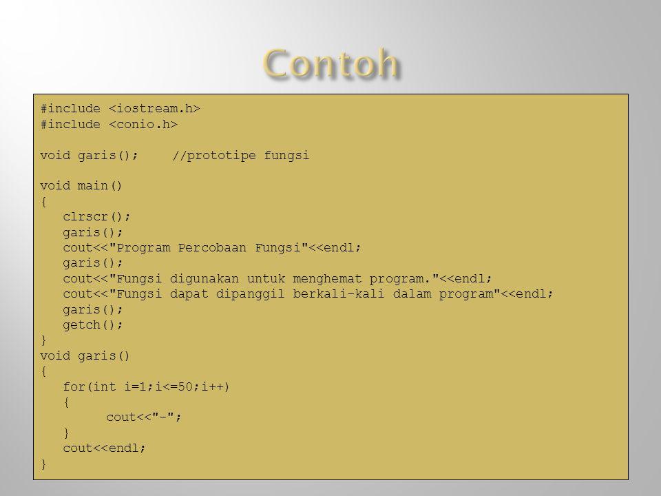#include void garis();//prototipe fungsi void main() { clrscr(); garis(); cout<<
