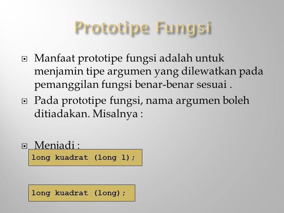  Manfaat prototipe fungsi adalah untuk menjamin tipe argumen yang dilewatkan pada pemanggilan fungsi benar-benar sesuai.  Pada prototipe fungsi, nam