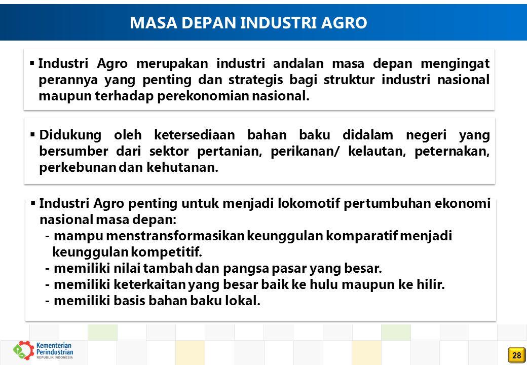 28 MASA DEPAN INDUSTRI AGRO  Industri Agro merupakan industri andalan masa depan mengingat perannya yang penting dan strategis bagi struktur industri nasional maupun terhadap perekonomian nasional.