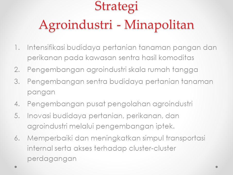Strategi Agroindustri - Minapolitan 1.Intensifikasi budidaya pertanian tanaman pangan dan perikanan pada kawasan sentra hasil komoditas 2.Pengembangan