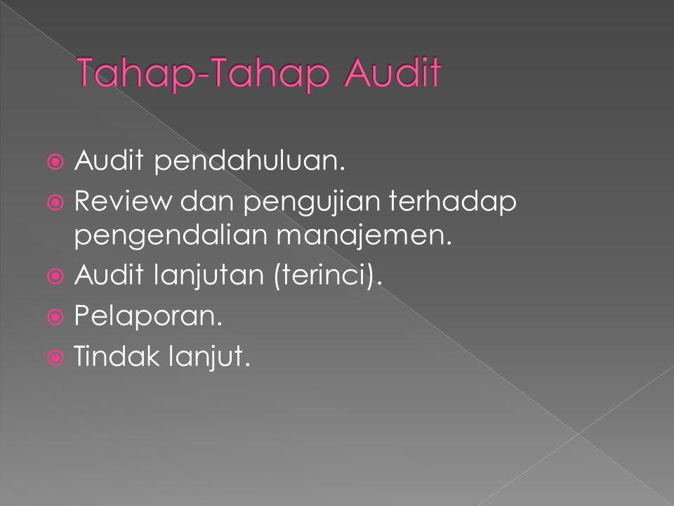  Audit pendahuluan.  Review dan pengujian terhadap pengendalian manajemen.  Audit lanjutan (terinci).  Pelaporan.  Tindak lanjut.