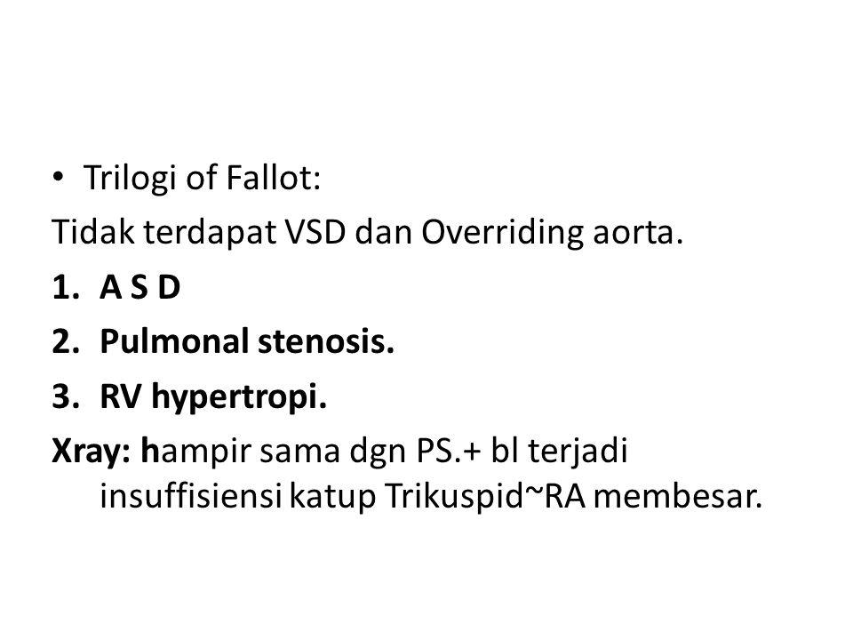 Trilogi of Fallot: Tidak terdapat VSD dan Overriding aorta. 1.A S D 2.Pulmonal stenosis. 3.RV hypertropi. Xray: hampir sama dgn PS.+ bl terjadi insuff