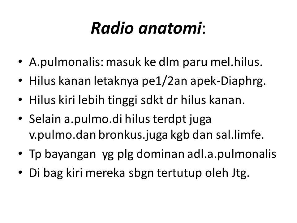 Radio anatomi: A.pulmonalis: masuk ke dlm paru mel.hilus. Hilus kanan letaknya pe1/2an apek-Diaphrg. Hilus kiri lebih tinggi sdkt dr hilus kanan. Sela