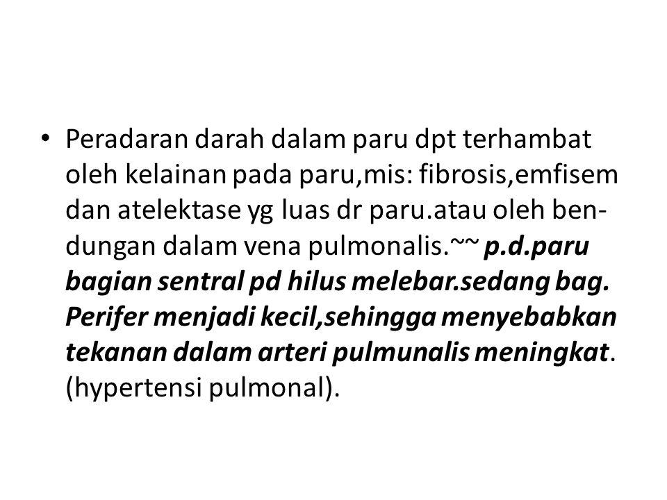 Peradaran darah dalam paru dpt terhambat oleh kelainan pada paru,mis: fibrosis,emfisem dan atelektase yg luas dr paru.atau oleh ben- dungan dalam vena