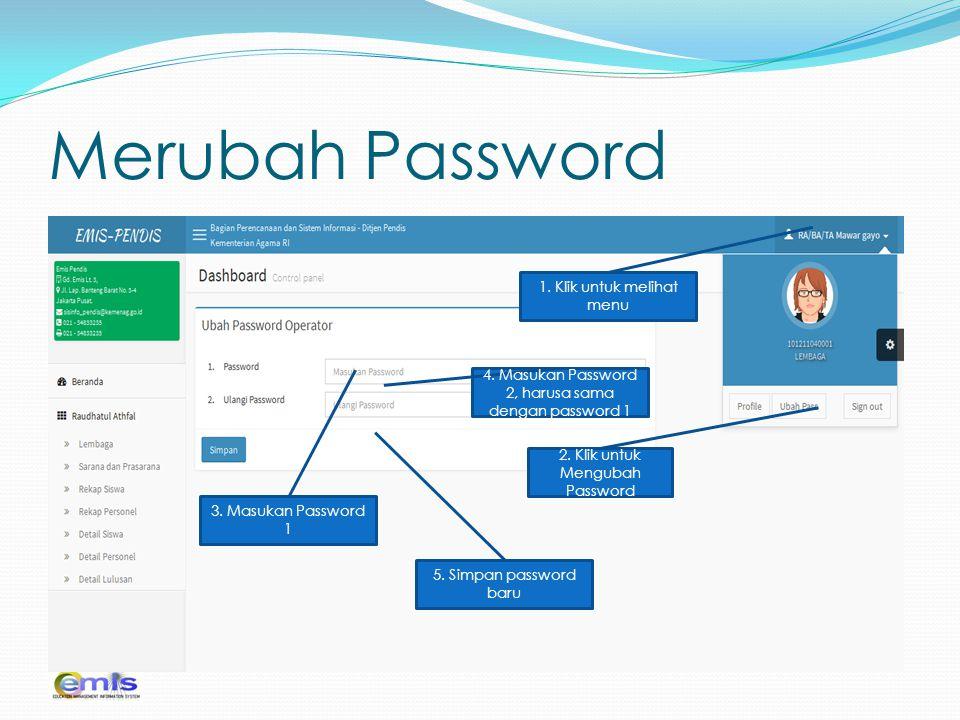 Merubah Password 2. Klik untuk Mengubah Password 1. Klik untuk melihat menu 3. Masukan Password 1 4. Masukan Password 2, harusa sama dengan password 1