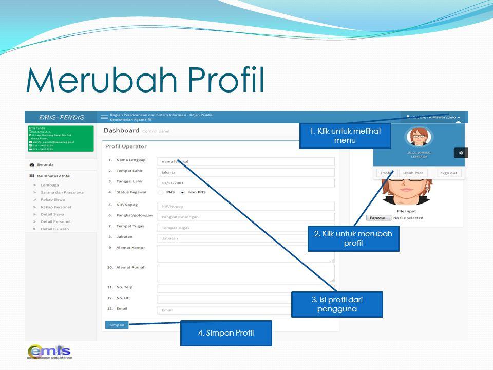 Merubah Profil 1. Klik untuk melihat menu 2. Klik untuk merubah profil 3. Isi profil dari pengguna 4. Simpan Profil