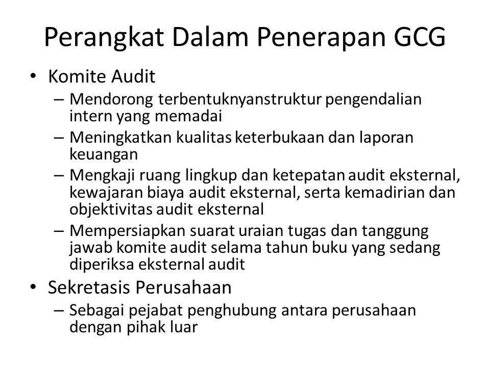 Perangkat Dalam Penerapan GCG Komite Audit – Mendorong terbentuknyanstruktur pengendalian intern yang memadai – Meningkatkan kualitas keterbukaan dan
