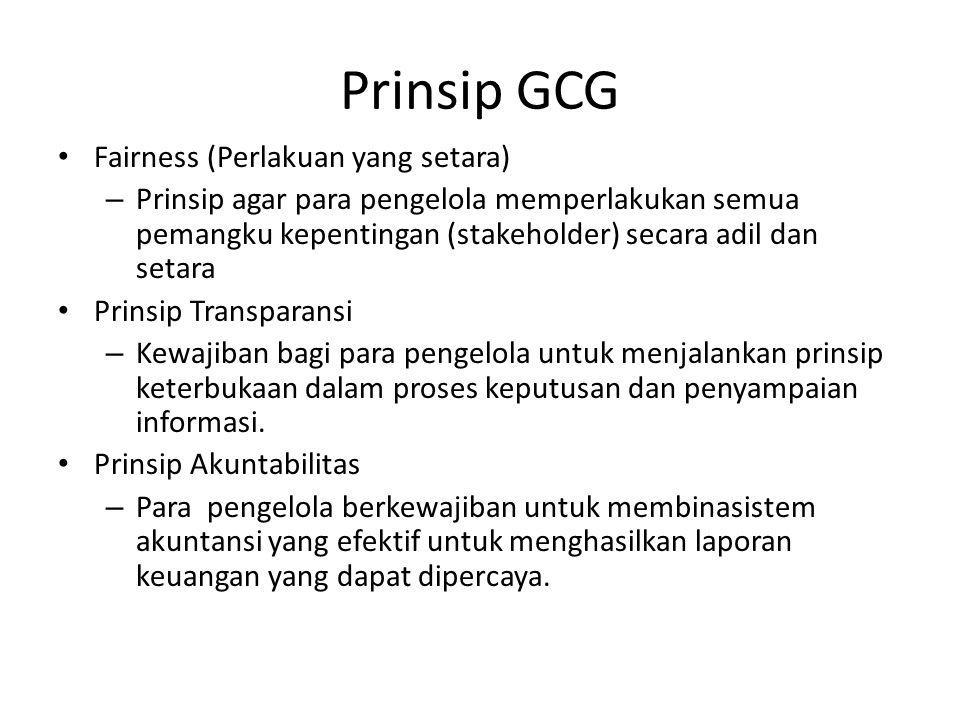 Prinsip GCG Prinsip Responsibilitas : para pengelola wajib memberikan pertanggungjawaban atas semua tindakan dalam mengelola perusahaan kepada para pemangku kepentingan sebagai wujud kepercayaan yang diberikan padanya.