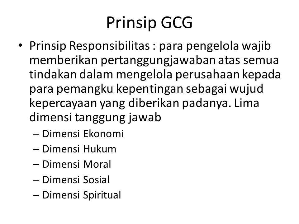 Prinsip GCG Kemadirian – Suatu keadaan dimana para pengelola dalam mengambil suatu keputusan bersifat frofesional, mandiri, bebas dari konflik kepentingan, dan bebas dari tekanan/pengaruh dari manapun yang bertentangan dengan perundang-undangan yang berlaku dan prinsip-prinsip pengelolaan yang sehat
