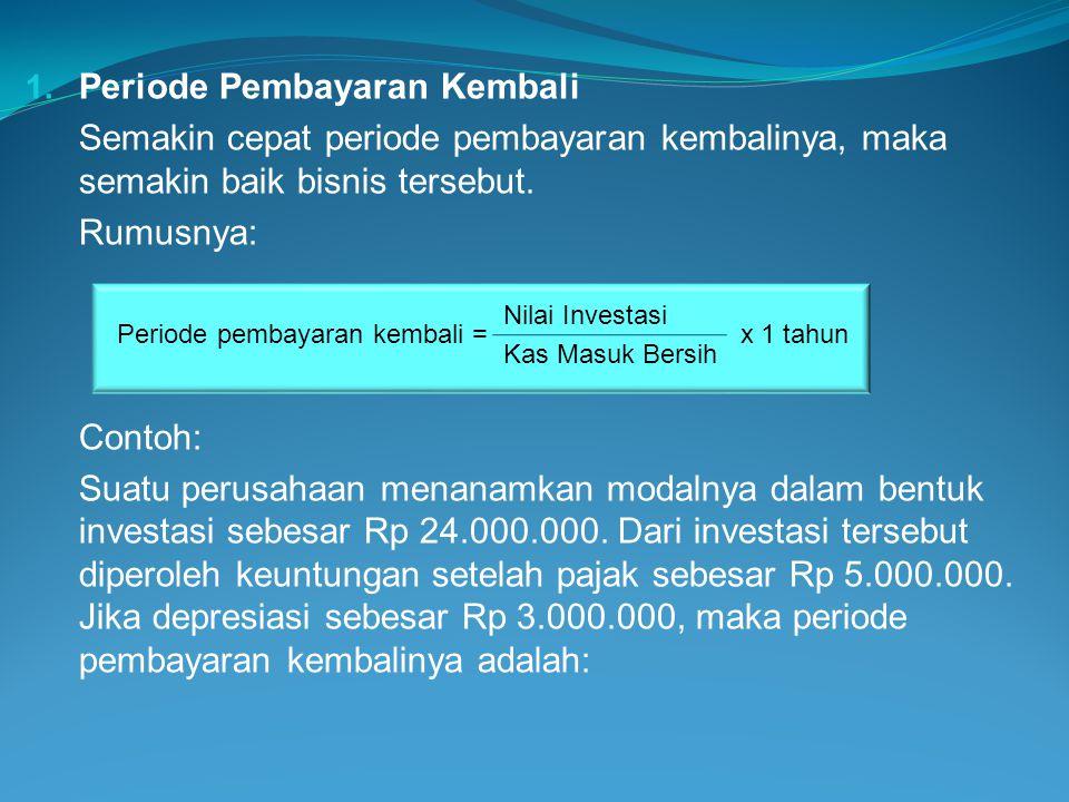 Investasi Rp 24.000.000 Keuntungan setelah pajak Rp 5.000.000 Depresiasi Rp 3.000.000 Arus kas masuk Rp 8.000.000 24.000.000 Periode pembayaran kembali = x 1 tahun 8.000.000 = 3 tahun