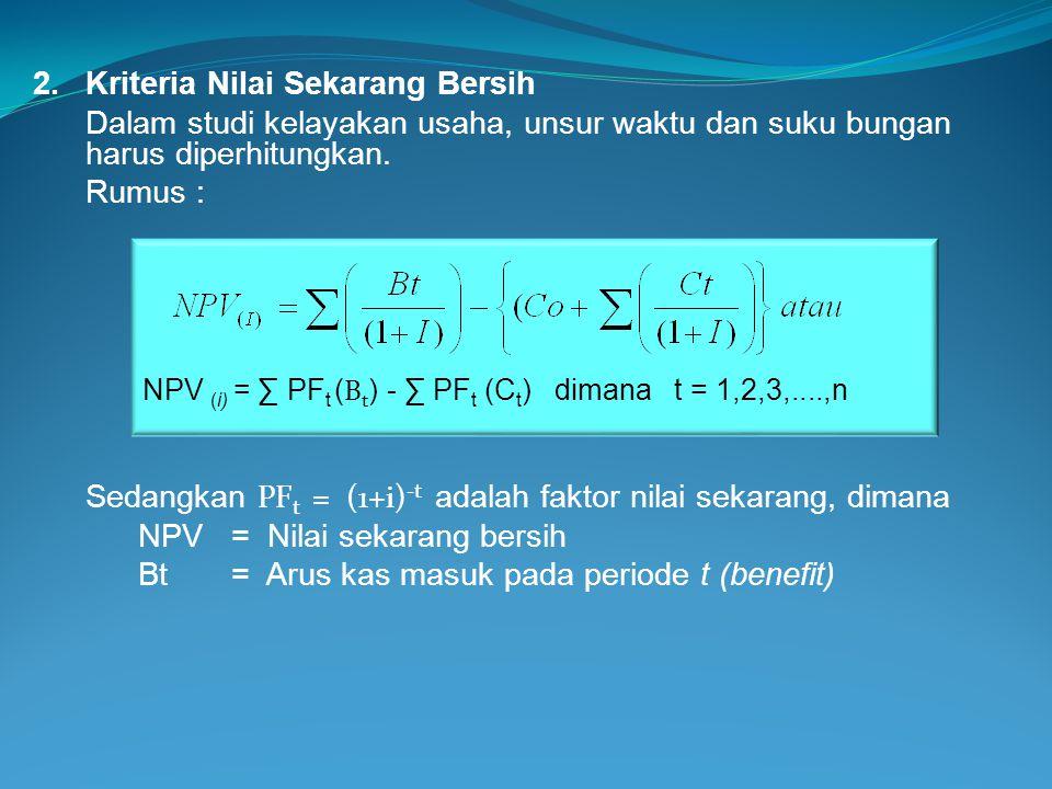 i = Tingkat bunga bank yang berlaku (interest) t = Periode Waktu (1+i) -t =Faktor nilai sekarang (discount factor atau PF t ) PF t dapat dihitung sebagai berikut : PF t = (1+i) -t PF 2 = (1 + i) -2 PF 3 = (1 + i) -3 Bila dimisalkan bunga bank yang berlaku 24%, maka : PF 2 = (1 + 0,24) -2 = 0,6504