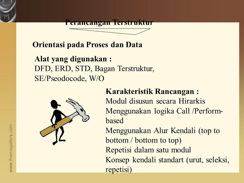 www.themegallery.com Perlunya Tahap Perancangan Tinggi Rendah RancanganPengkodeanPengujian Biaya koreksi kesalahan Pemeliharaan