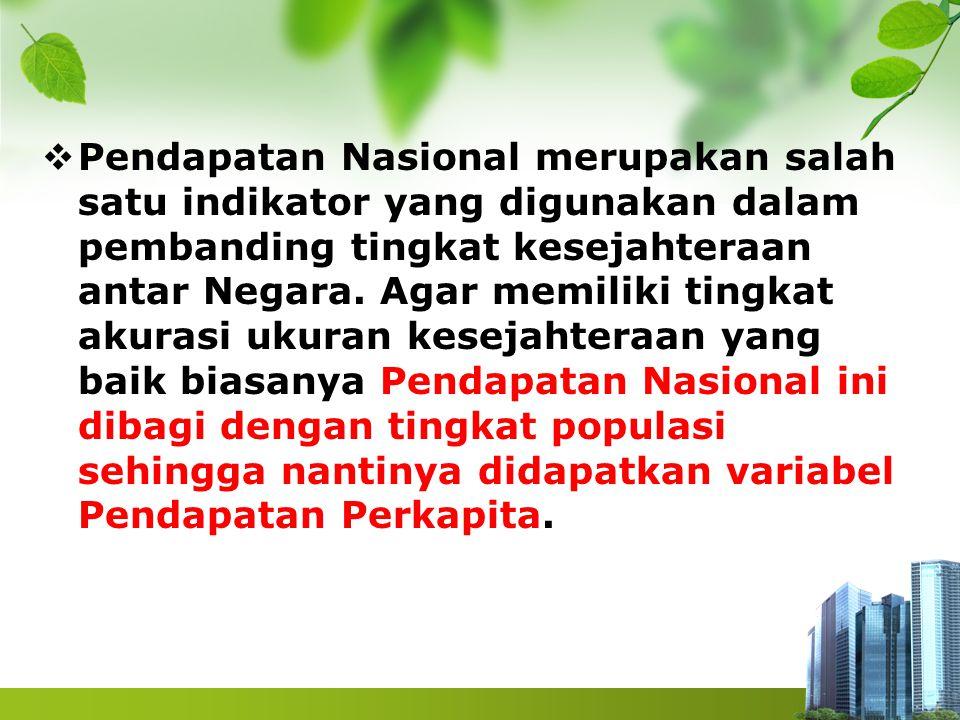 Keterangan : Y : Pendapatan Nasional (NI) r :sewa tanah/alam i : bunga modal w :upah TK p : laba pengusaha/skill Perhitungganya disebut National Income (NI)
