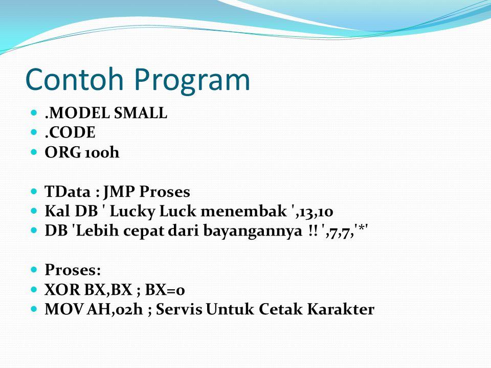 Contoh Program.MODEL SMALL.CODE ORG 100h TData : JMP Proses Kal DB ' Lucky Luck menembak ',13,10 DB 'Lebih cepat dari bayangannya !! ',7,7,'*' Proses:
