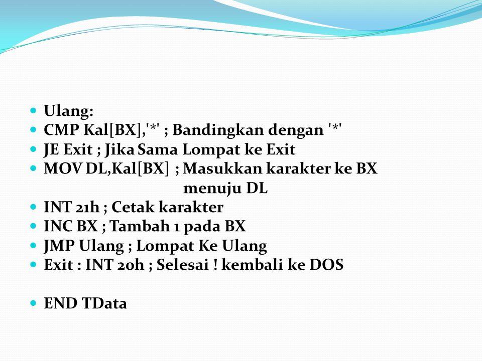 Ulang: CMP Kal[BX],'*' ; Bandingkan dengan '*' JE Exit ; Jika Sama Lompat ke Exit MOV DL,Kal[BX] ; Masukkan karakter ke BX menuju DL INT 21h ; Cetak k
