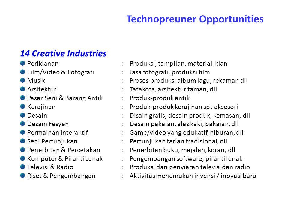 14 Creative Industries Periklanan:Produksi, tampilan, material iklan Film/Video & Fotografi:Jasa fotografi, produksi film Musik:Proses produksi album
