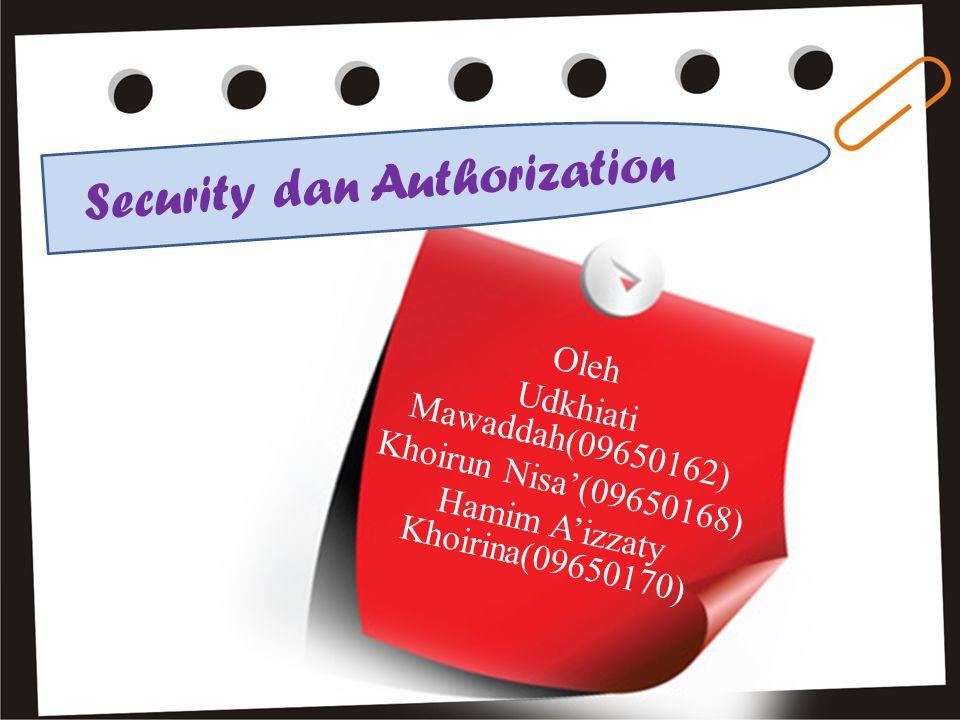 Oleh Udkhiati Mawaddah(09650162) Khoirun Nisa'(09650168) Hamim A'izzaty Khoirina(09650170) Security dan Authorization