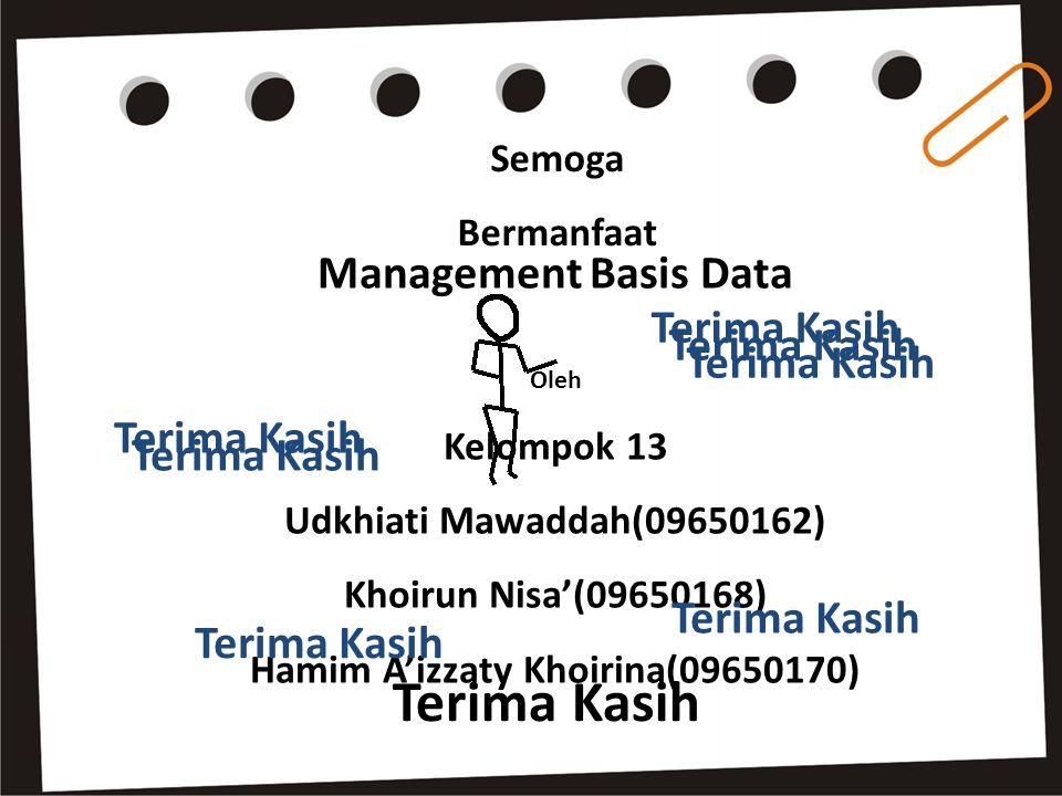 Semoga Bermanfaat Management Basis Data Oleh Kelompok 13 Udkhiati Mawaddah(09650162) Khoirun Nisa'(09650168) Hamim A'izzaty Khoirina(09650170) Terima