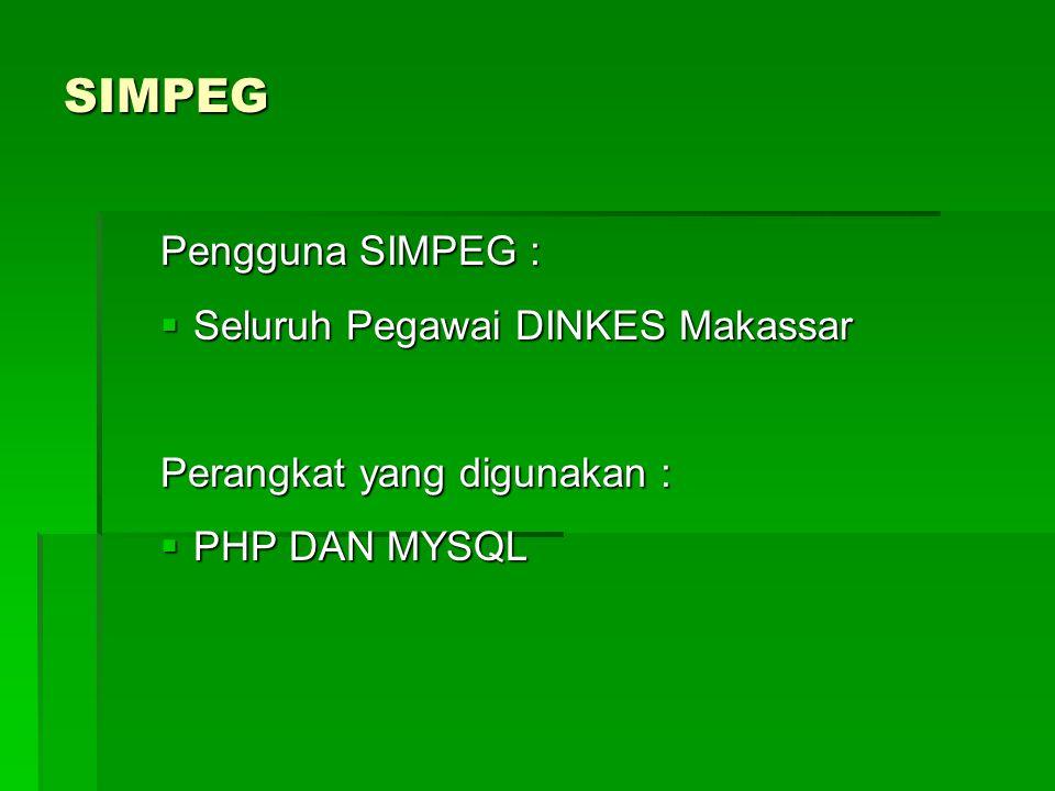 SIMPEG Pengguna SIMPEG:  Seluruh Pegawai DINKES Makassar Perangkat yang digunakan :  PHP DAN MYSQL