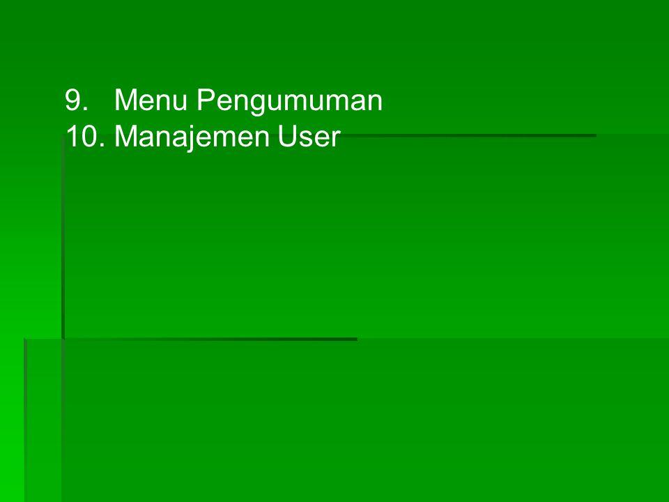 9. Menu Pengumuman 10. Manajemen User