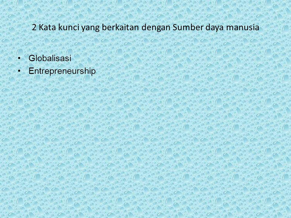 2 Kata kunci yang berkaitan dengan Sumber daya manusia Globalisasi Entrepreneurship
