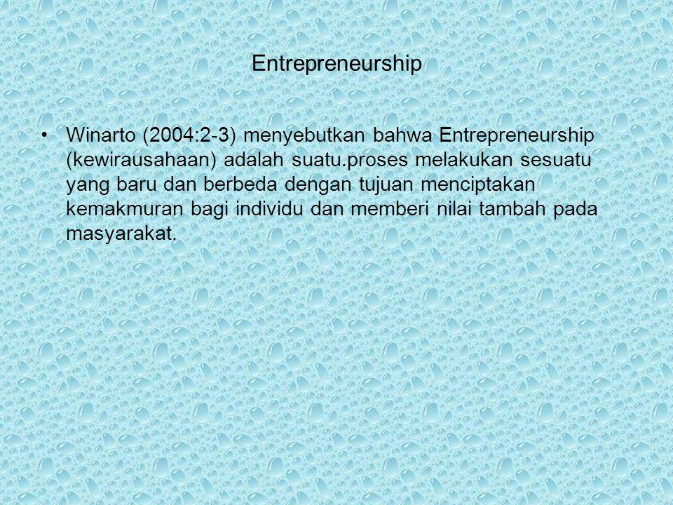 Entrepreneurship Winarto (2004:2-3) menyebutkan bahwa Entrepreneurship (kewirausahaan) adalah suatu.proses melakukan sesuatu yang baru dan berbeda dengan tujuan menciptakan kemakmuran bagi individu dan memberi nilai tambah pada masyarakat.