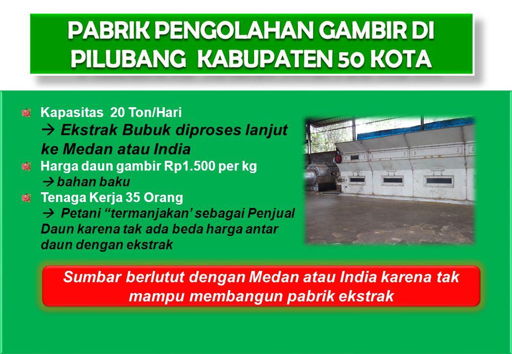 14 Kapasitas 20 Ton/Hari  Ekstrak Bubuk diproses lanjut ke Medan atau India Harga daun gambir Rp1.500 per kg  bahan baku Tenaga Kerja 35 Orang  Pet