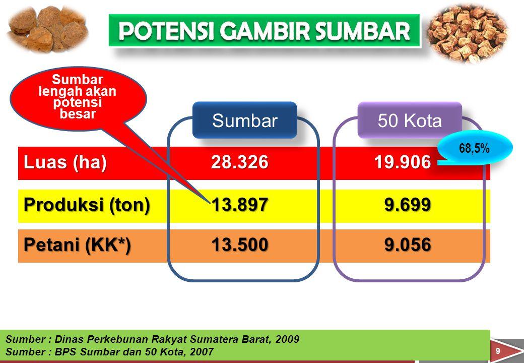 99 Luas (ha) Produksi (ton) Petani (KK*) 28.326 13.897 13.500 19.906 9.699 9.056 Sumber : Dinas Perkebunan Rakyat Sumatera Barat, 2009 Sumber : BPS Su