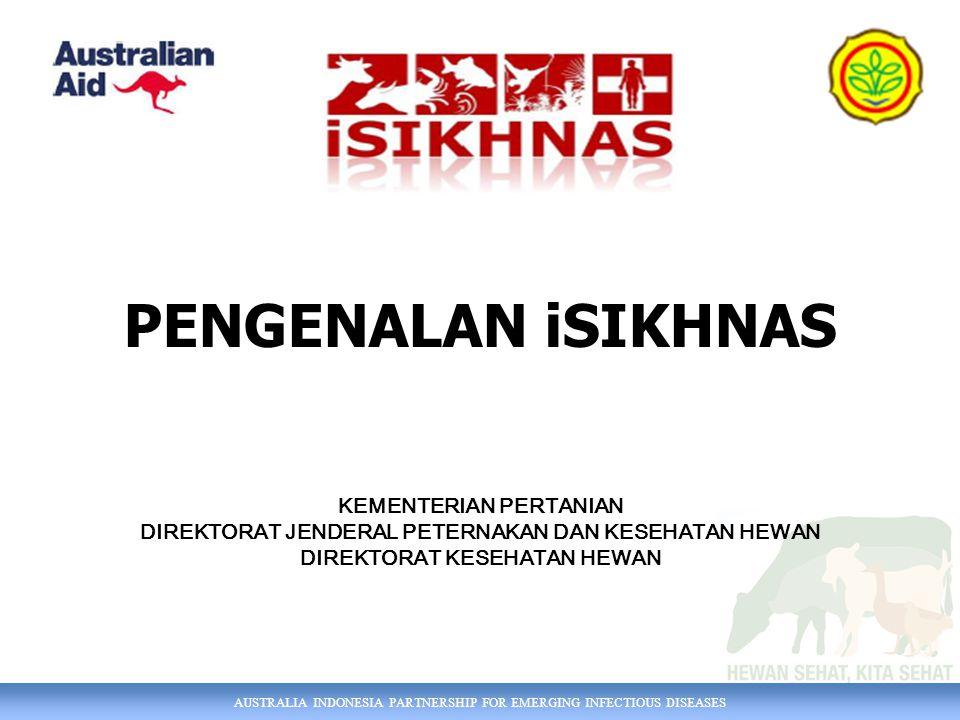 AUSTRALIA INDONESIA PARTNERSHIP FOR EMERGING INFECTIOUS DISEASES PENGENALAN iSIKHNAS KEMENTERIAN PERTANIAN DIREKTORAT JENDERAL PETERNAKAN DAN KESEHATA