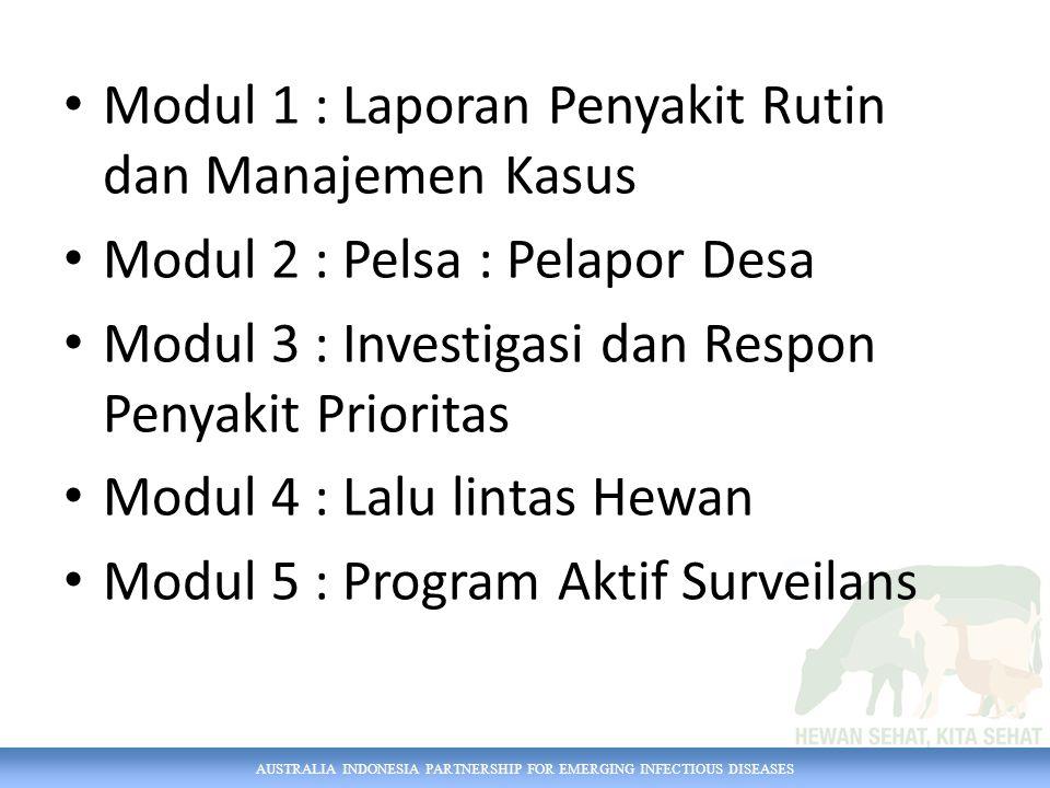 AUSTRALIA INDONESIA PARTNERSHIP FOR EMERGING INFECTIOUS DISEASES Modul 1 : Laporan Penyakit Rutin dan Manajemen Kasus Modul 2 : Pelsa : Pelapor Desa M