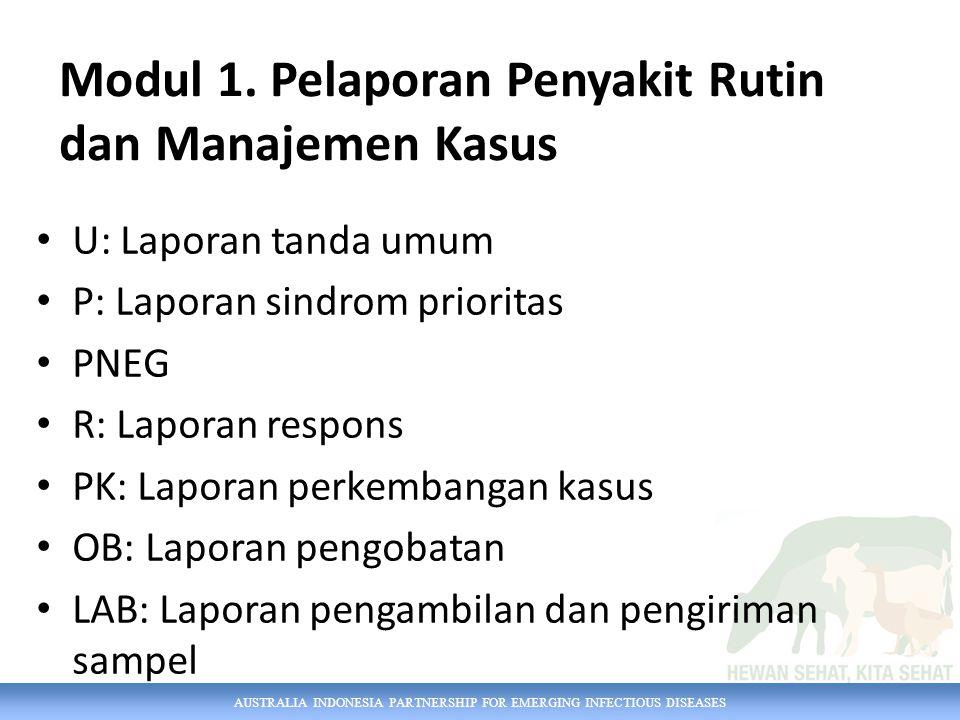AUSTRALIA INDONESIA PARTNERSHIP FOR EMERGING INFECTIOUS DISEASES Modul 1. Pelaporan Penyakit Rutin dan Manajemen Kasus U: Laporan tanda umum P: Lapora