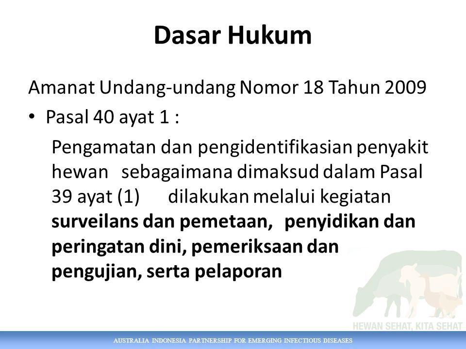 AUSTRALIA INDONESIA PARTNERSHIP FOR EMERGING INFECTIOUS DISEASES Dasar Hukum Amanat Undang-undang Nomor 18 Tahun 2009 Pasal 40 ayat 1 : Pengamatan dan