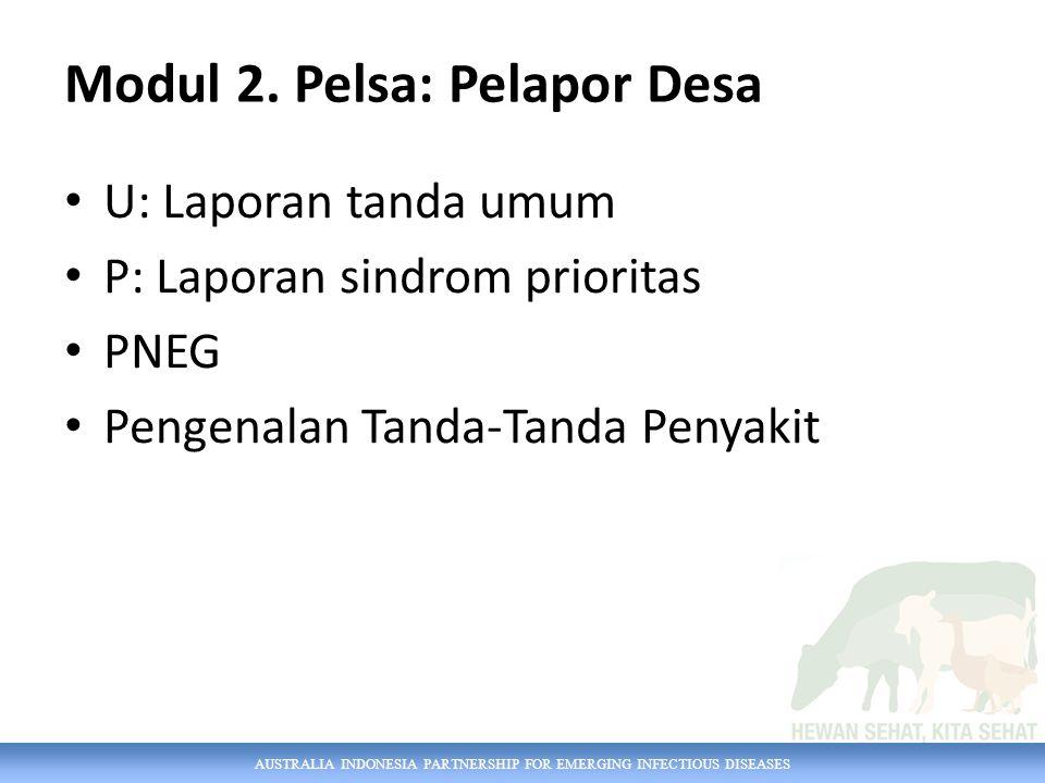 AUSTRALIA INDONESIA PARTNERSHIP FOR EMERGING INFECTIOUS DISEASES Modul 2. Pelsa: Pelapor Desa U: Laporan tanda umum P: Laporan sindrom prioritas PNEG