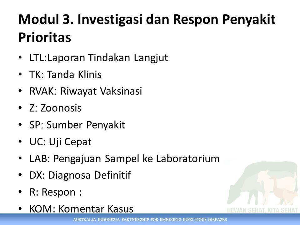 AUSTRALIA INDONESIA PARTNERSHIP FOR EMERGING INFECTIOUS DISEASES Modul 3. Investigasi dan Respon Penyakit Prioritas LTL:Laporan Tindakan Langjut TK: T