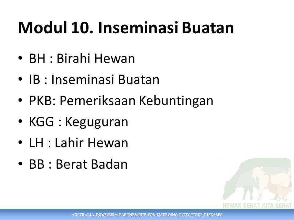AUSTRALIA INDONESIA PARTNERSHIP FOR EMERGING INFECTIOUS DISEASES Modul 10. Inseminasi Buatan BH : Birahi Hewan IB : Inseminasi Buatan PKB: Pemeriksaan
