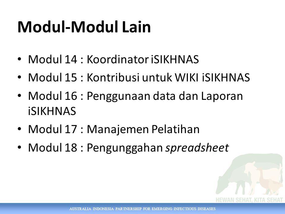 AUSTRALIA INDONESIA PARTNERSHIP FOR EMERGING INFECTIOUS DISEASES Modul-Modul Lain Modul 14 : Koordinator iSIKHNAS Modul 15 : Kontribusi untuk WIKI iSI