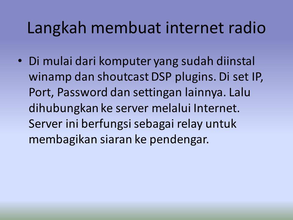 Langkah membuat internet radio Di mulai dari komputer yang sudah diinstal winamp dan shoutcast DSP plugins.