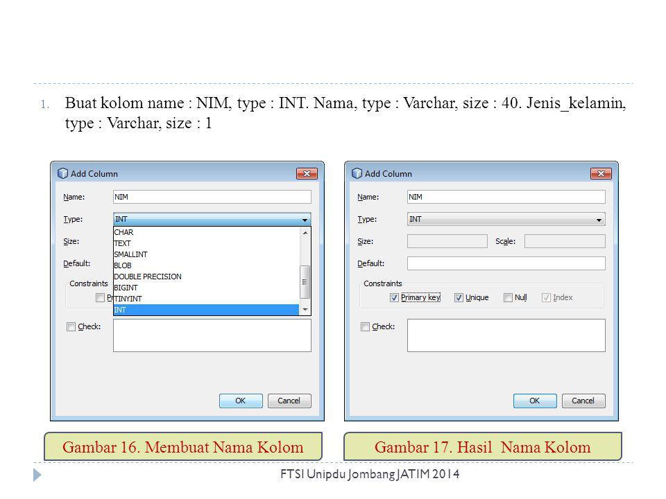 1. Buat kolom name : NIM, type : INT. Nama, type : Varchar, size : 40. Jenis_kelamin, type : Varchar, size : 1 Gambar 16. Membuat Nama KolomGambar 17.