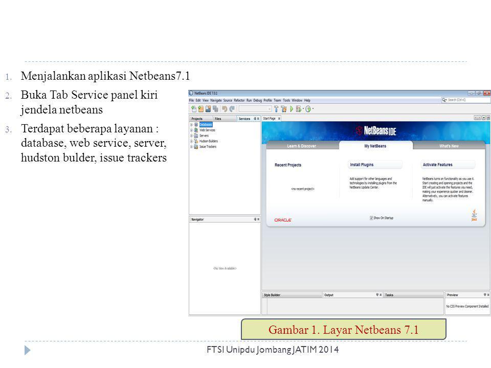 1. Menjalankan aplikasi Netbeans7.1 2. Buka Tab Service panel kiri jendela netbeans 3. Terdapat beberapa layanan : database, web service, server, huds