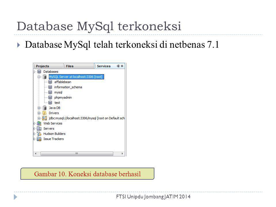 Database MySql terkoneksi  Database MySql telah terkoneksi di netbenas 7.1 Gambar 10. Koneksi database berhasil FTSI Unipdu Jombang JATIM 2014