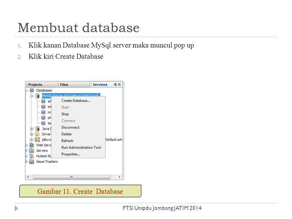 Membuat database 1. Klik kanan Database MySql server maka muncul pop up 2. Klik kiri Create Database Gambar 11. Create Database FTSI Unipdu Jombang JA