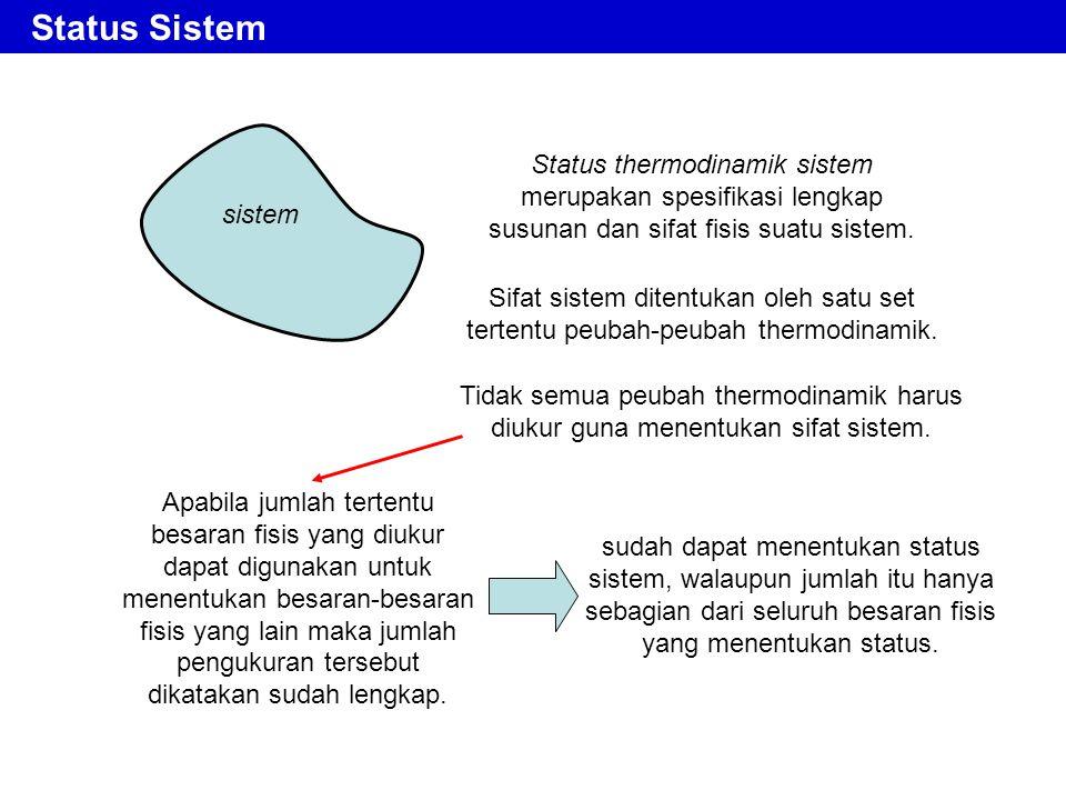 Status Sistem Status thermodinamik sistem merupakan spesifikasi lengkap susunan dan sifat fisis suatu sistem. Tidak semua peubah thermodinamik harus d