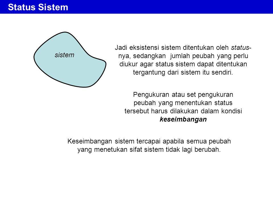 Jadi eksistensi sistem ditentukan oleh status- nya, sedangkan jumlah peubah yang perlu diukur agar status sistem dapat ditentukan tergantung dari sist