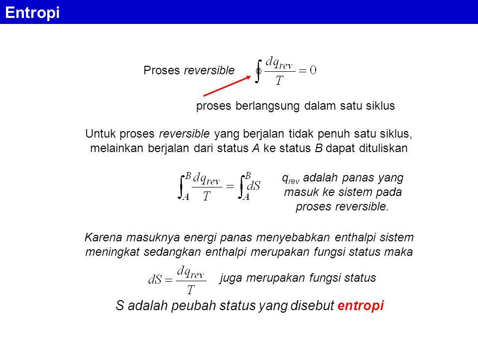 Entropi Proses reversible proses berlangsung dalam satu siklus Untuk proses reversible yang berjalan tidak penuh satu siklus, melainkan berjalan dari